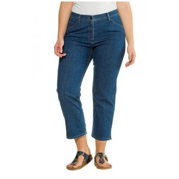 Ulla Popken Damen  7/8-Jeans, Straight Fit, Stretchdenim, gerades Bein, PURE, blue denim, Gr. 60, Mode in großen Größen