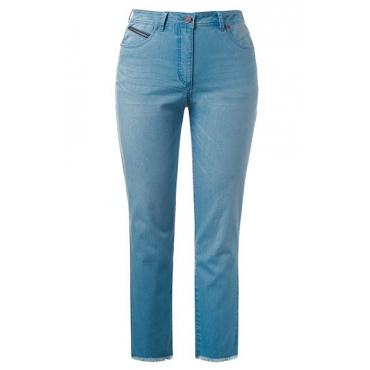 Ulla Popken Damen  7/8-Sommerjeans Mia, 5-Pocket-Form, light blue, Gr. 56, Mode in großen Größen