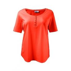 Große Größen Ulla Popken Damen  Basic-T-Shirt, Regular, Knopfleiste, Rundhals, Baumwolle, Öko-Tex 100, Rot, Gr. 42/44,46/48,50/52,54/56