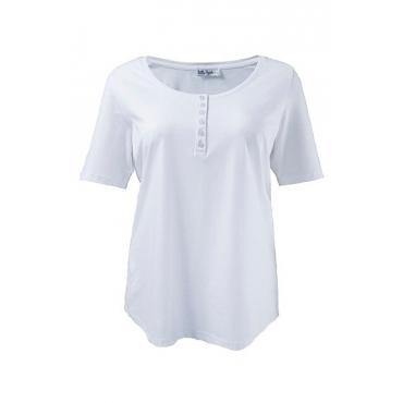 Ulla Popken Damen  T-Shirt, Knopfleiste, Regular, Rundhals, Öko-Tex 100, weiß, Gr. 58/60, Mode in großen Größen
