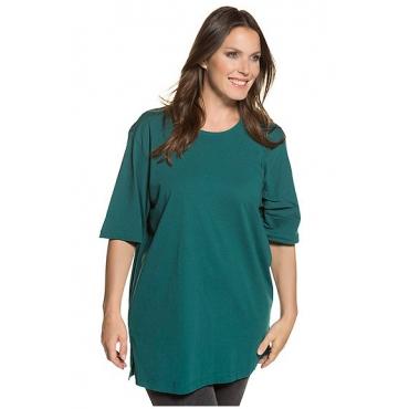 Ulla Popken Damen  Basic-T-Shirt, Rundhalsausschnitt, Relaxed, Baumwolle, hell-mint, Gr. 58/60, Mode in großen Größen