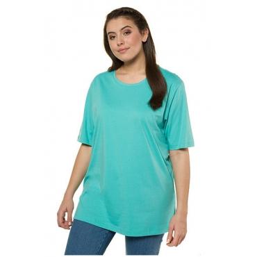 Ulla Popken Damen  Basic-T-Shirt, Rundhalsausschnitt, Relaxed, Baumwolle, kleegrün, Gr. 58/60, Mode in großen Größen