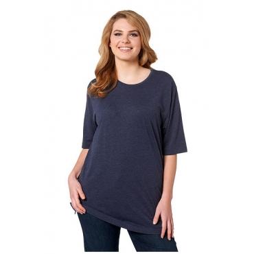 Ulla Popken Damen  Basic-T-Shirt, Rundhalsausschnitt, Relaxed, Baumwolle, meeresblau, Gr. 46/48, Mode in großen Größen