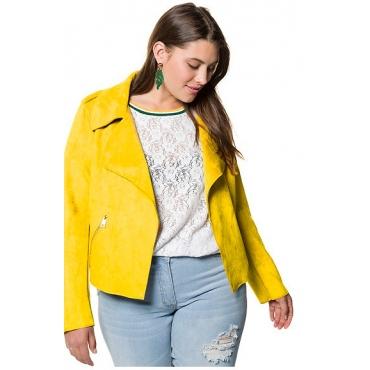 Studio Untold Damen  Bikerjacke, Veloursleder-Optik, offenkantig, gelb, Gr. 48, Mode in großen Größen
