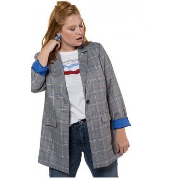 Studio Untold Damen  Blazer, Karo, Color-Futter, Langarm, mehrfarbig, Gr. 52, Mode in großen Größen