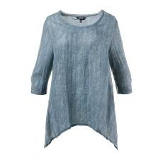 Große Größen Ulla Popken Damen  Bluse, Zipfelsaum, Blättermuster, leicht transparent, Blau, Gr. 42/44,46/48,50/52,54/56