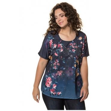 Ulla Popken Damen  Blusenshirt, Blütendruck, Oversized, petrolblau, Gr. 58/60, Mode in großen Größen