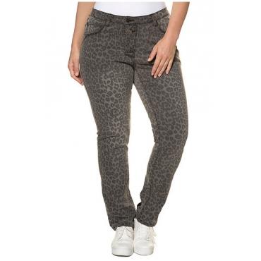 Große Größen Ulla Popken Damen  Bodyforming-Jeans, Leomuster, schmales Bein, 5-Pocket-Form, Grau, Gr. 42,46,58,44,48,50,52,54,56,60