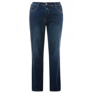 Große Größen Ulla Popken Damen  Bodyforming-Jeans, Sammy, schmales Bein, Knopfleiste, Blau, Gr. 42,44,46,48,50,52,54,56,58,60