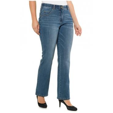 Ulla Popken Damen  Bootcut-Jeans Marie, helle Waschung, ausgestellter Saum, blue denim, Gr. 56, Mode in großen Größen