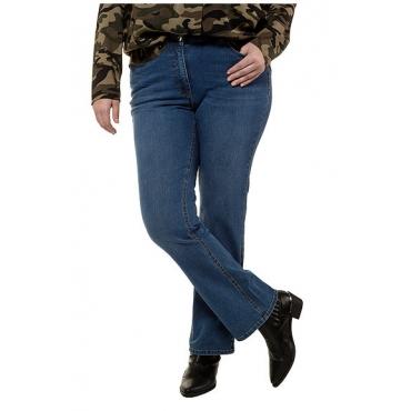 Studio Untold Damen  Bootcut-Jeans, schmal mit ausgestelltem Saum, 5-Pocket, blue denim, Gr. 44, Mode in großen Größen