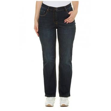 Ulla Popken Damen  Bootcut-Jeans, Wascheffekt, 5-Pocket-Form, blue denim, Gr. 54, Mode in großen Größen