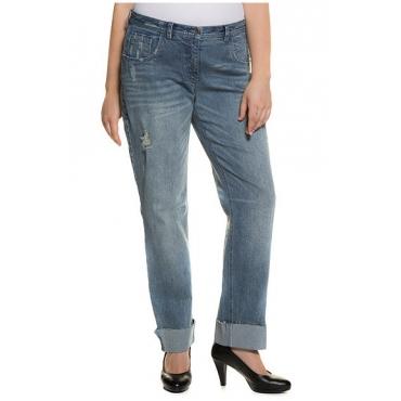 Große Größen Ulla Popken Damen  Boyfriend-Jeans, Destroy-Effekte, 5-Pocket-Form, Fransensaum, Blau, Gr. 42,44,46,48,50,52,54,56,58,60,62