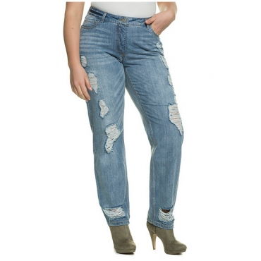 Große Größen Ulla Popken Damen  Boyfriend-Jeans, Destroy-Effekte, 5-Pocket-Schnitt, reine Baumwolle, Blau, Gr. 42,44,46,48,50,52,54