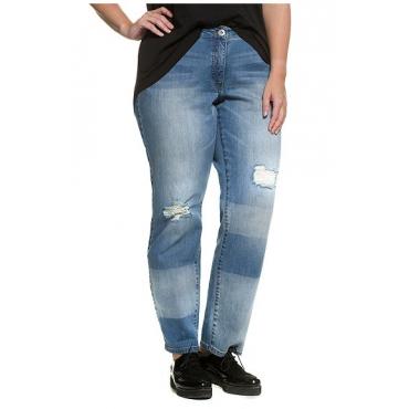 Große Größen Ulla Popken Damen  Boyfriend-Jeans, Destroy-Effekte, Farbstreifen, Krempelsaum, Blau, Gr. 42,44,46,48,50,52,54