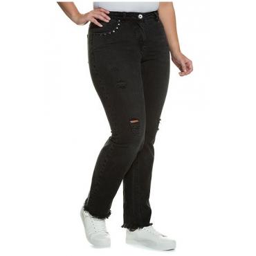 Große Größen Ulla Popken Damen  Boyfriend-Jeans, Destroy-Effekte, Ziernieten, Fransensaum, Schwarz, Gr. 42,44,46,48,50,52,54
