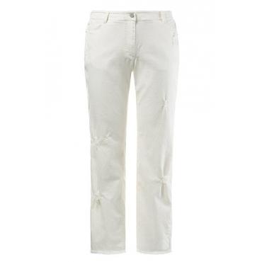 Große Größen Ulla Popken Damen  Boyfriend-Jeans, Destroy-Look, 5-Pocket-Form, Stretchkomfort, Weiß, Gr. 42,44,46,48,50,52,54,56,58