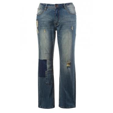 Große Größen Ulla Popken Damen  Boyfriend-Jeans, Destroy-Look, Patches, Blau, Gr. 42,44,48,58,46,50,52,54,56