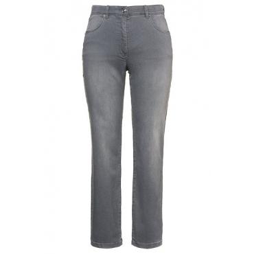 Ulla Popken Damen  Boyfriend-Jeans, Elastikbund, 5-Pocket-Form, hellgrau, Gr. 60, Mode in großen Größen