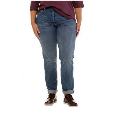 Ulla Popken Damen  Boyfriend-Jeans, leichte Waschung, 5-Pocket-Form, blue denim, Gr. 56, Mode in großen Größen