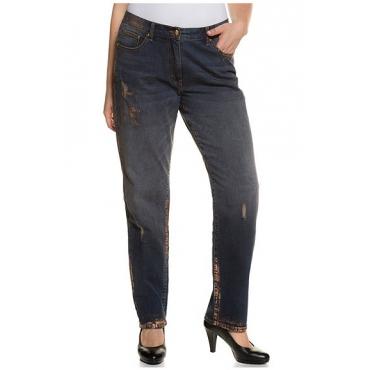 Große Größen Ulla Popken Damen  Boyfriend-Jeans, Metallic-Druck, Destroy-Effekte, Blau, Gr. 42,44,46,48,50,52,54,56,58,60,62