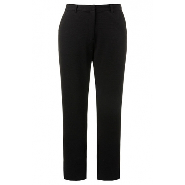 Ulla Popken Damen  Businesshose, Struktur, Stretchkomfort, Hakenverschluss, schwarz, Gr. 50, Mode in großen Größen