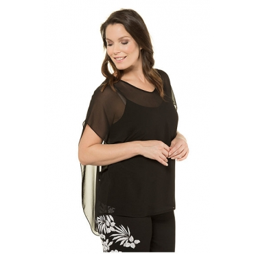 Ulla Popken Damen  Chiffon-Shirt mit blickdichtem Top, V-Ausschnitt, Rücken doppellagig, schwarz, Gr. 58/60, Mode in großen Größen