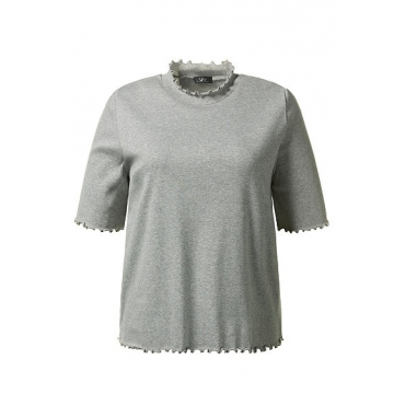 Ulla Popken Damen  Cropshirt, kurze Form, Wellenkanten, Stehkragen, hellgrau-melange, Gr. 54/56, Mode in großen Größen