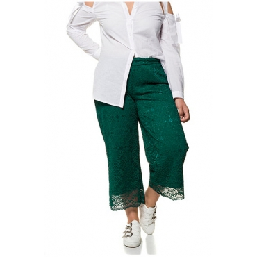 Studio Untold Damen  Culotte aus Spitze mit elastischem Bund, petrolgrün, Gr. 54, Mode in großen Größen