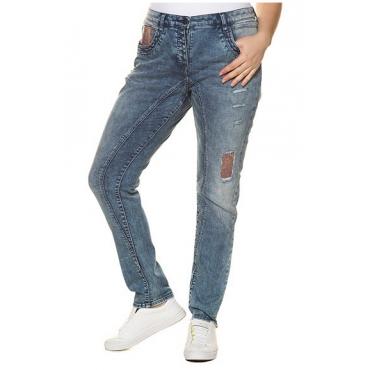 Ulla Popken Damen  Curvy-Jeans, Pailletten, Teilungsnähte, relaxed, blue denim, Gr. 56, Mode in großen Größen