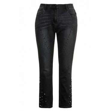 Ulla Popken Damen  Curvy-Jeans, Quernähte, Zierperlen, grey, Gr. 62, Mode in großen Größen