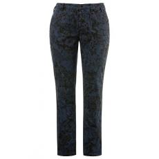 Große Größen Ulla Popken Damen  Curvy-Jeans, Used-Optik, Blütenmuster, Ziernähte, tiefblau, Gr. 42,44,46,48,50,52,54,56,58