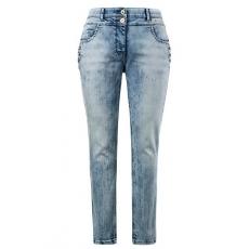 Große Größen Ulla Popken Damen  Curvy-Jeans, Used-Optik, Zierknöpfe, Komfortbund, Blau, Gr. 42,44,46,48,50,52,54,56,58