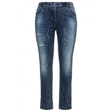 Ulla Popken Damen  Curvy-Jeans, Ziernähte, Destroy-Effekte, Komfortbund, blue denim, Gr. 62, Mode in großen Größen