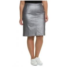 Große Größen Ulla Popken Damen  Fake-Lederrock, Shiny Silber, gerade Form, Quernaht, Silber, Gr. 42,44,54,46,48,50,52