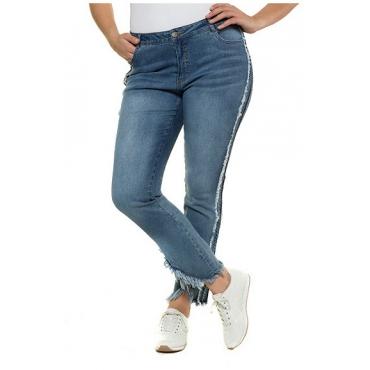 Ulla Popken Damen  Fransen-Jeans Sammy, teils offenkantig, 5-Pocket-Form, blue denim, Gr. 56, Mode in großen Größen