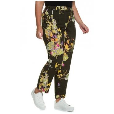 Große Größen Ulla Popken Damen  Hose, Blütenmuster, gerade Bundfaltenform, Saumumschlag, Mehrfarbig, Gr. 42,44,46,48,50,52,54