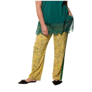 Studio Untold Damen  Hose, geblümter Krepp, Galonstreifen, Elastikbund ohne Verschluss, gelb, Gr. 54, Mode in großen Größen