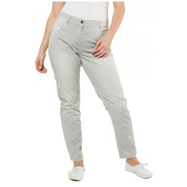Ulla Popken Damen  Hose Mia, Knitterfalten, schmales Bein, 5-Pocket-Form, grey, Gr. 60, Mode in großen Größen