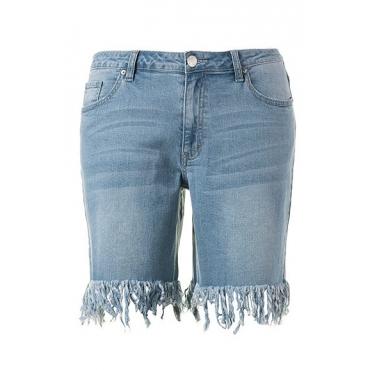Große Größen Ulla Popken Damen  Hotpants, Boyfriend-Style, 5-Pocket-Form, Fransen, Blau, Gr. 42,44,46,48,50,52,54,56,58