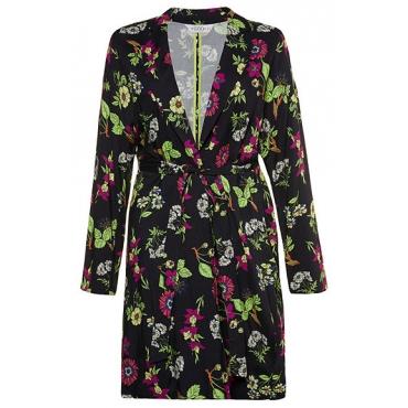 Studio Untold Damen  Jacke, Blütenmuster, lange Kimonoform, Bindegürtel, mehrfarbig, Gr. 50, Mode in großen Größen