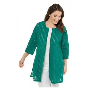 Ulla Popken Damen  Jacke, gemusterte Ausbrenner-Qualität, offene Form, dunkelgrün, Gr. 58/60, Mode in großen Größen