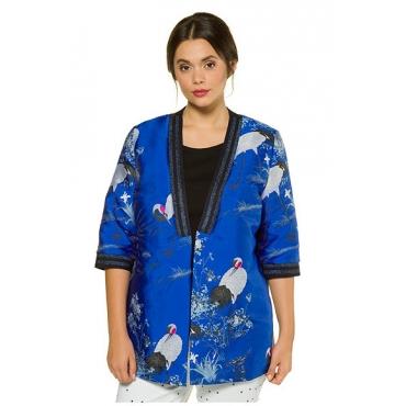Studio Untold Damen  Jacke, Kimono, lang, Kranich-Muster, offene Form, mehrfarbig, Gr. 50, Mode in großen Größen
