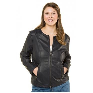 Ulla Popken Damen  Jacke, Lederoptik, körpernahe Form, beschichtet, marine, Gr. 62, Mode in großen Größen