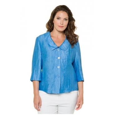 Ulla Popken Damen  Jacke, Leinencrash, großer Kragen, 3/4-Ärmel, selection, blau, Gr. 60, Mode in großen Größen