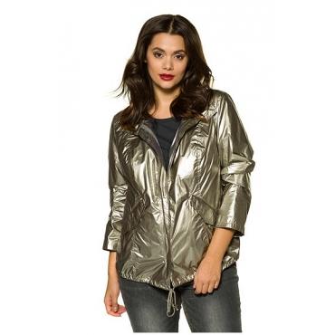 Studio Untold Damen  Jacke, Metallic-Look, super leicht, Langarm, silber, Gr. 50, Mode in großen Größen