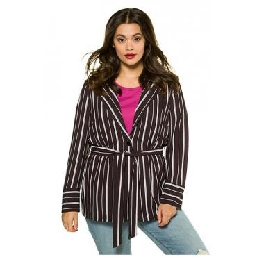 Studio Untold Damen  Jacke, Streifen, Revers, Gürtel, Knopfverschluss, schwarz, Gr. 52, Mode in großen Größen