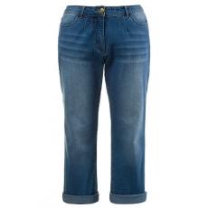 Große Größen Ulla Popken Damen  Jeans, 5-Pocketform, Saum zum Krempeln, Bundfalten, Blau, Gr. 42,44,46,48,50,52,54,56,60