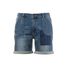 Große Größen Ulla Popken Damen  Jeans-Bermuda, Destroy-Look, weites Bein, Umschlagsaum, Blau, Gr. 42,44,46,48,50,52,54,56,58,60