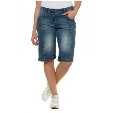 Große Größen Ulla Popken Damen Jeans-Bermuda, Ziernähte, 5-Pocket-Form, Doppelknopf, Blau, Gr. 42,44,46,48,50,52,54,56 Ulla Popken
